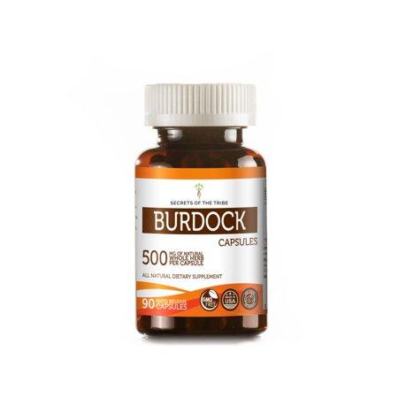 Burdock 90 Capsules, 500 mg, Organic Burdock (Arctium Lappa) Dried Root Burdock Root 90 Capsules