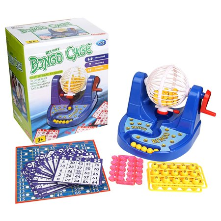 Deluxe Bingo Cage Game Set Toy Lottery Party (w/ 70 diff Combinations & Markers) - Bingo Game Set