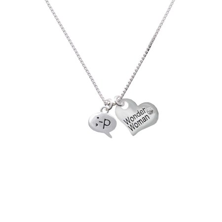 Silvertone Emoticon :-P - Cheeky - Wonder Woman Heart Necklace - Heart Emojicon