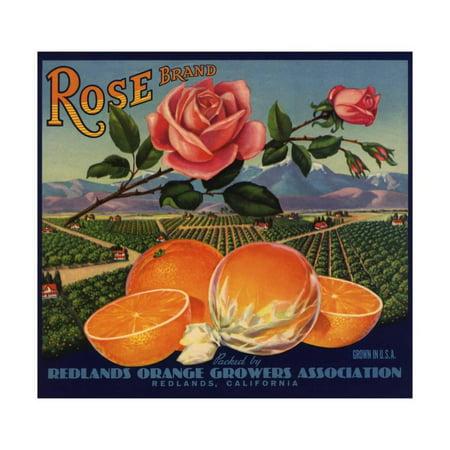 Rose Brand - Redlands, California - Citrus Crate Label Print Wall Art By Lantern -