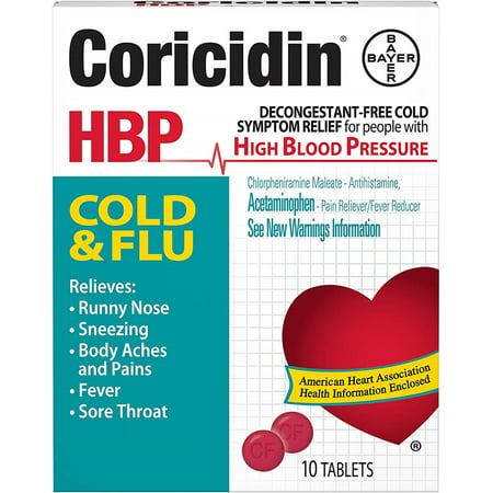 2 Pack - Coricidin HBP Cold & Flu Tablets, 10 ea