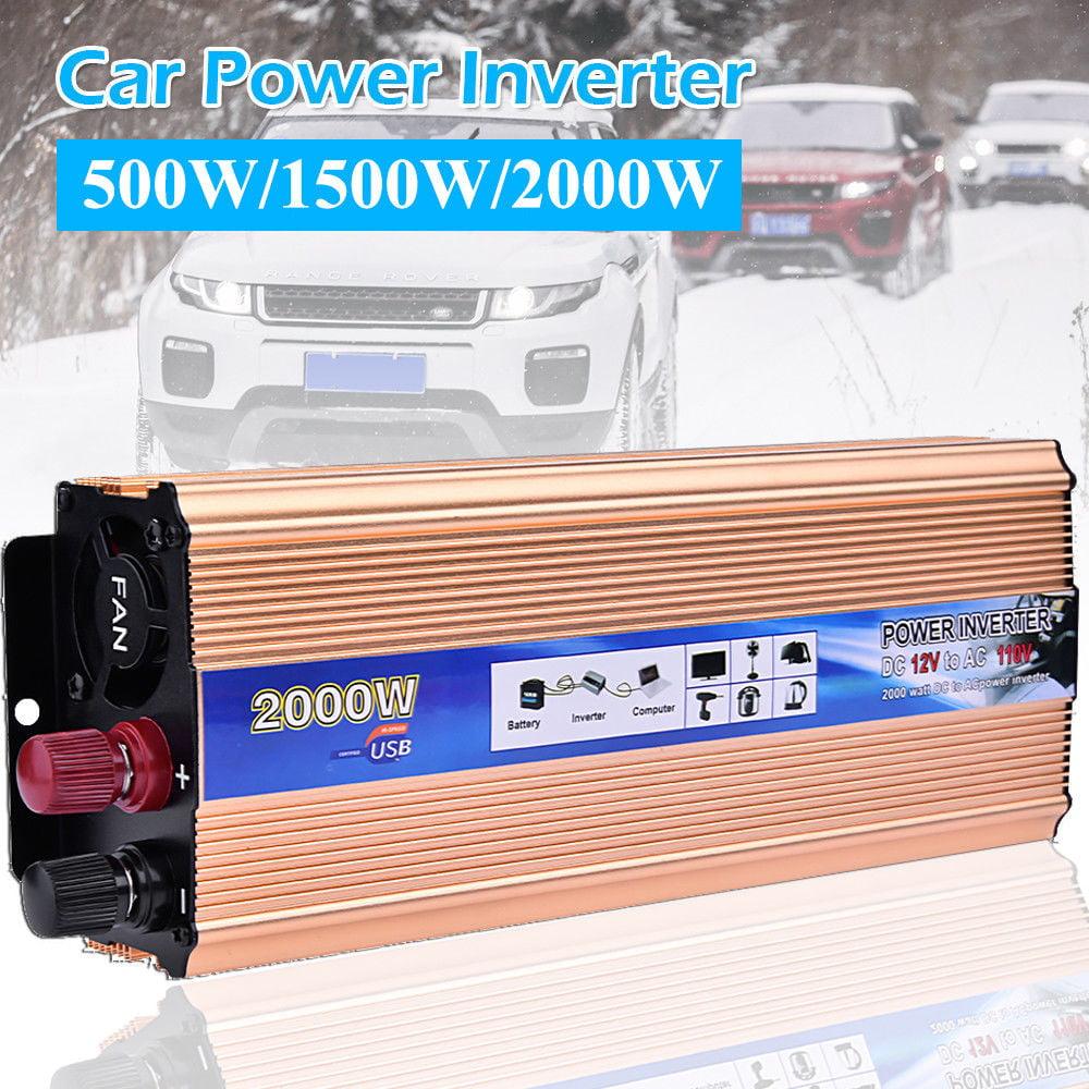 Portable Car LED Power Inverter 2000W DC 12V to AC 110V Charger Converter