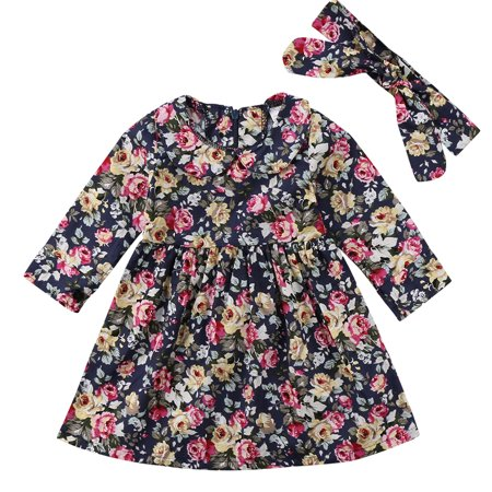 Baby Kid Girls Long Sleeve Floral Printed Princess Dress With Headband Outfits 6-12