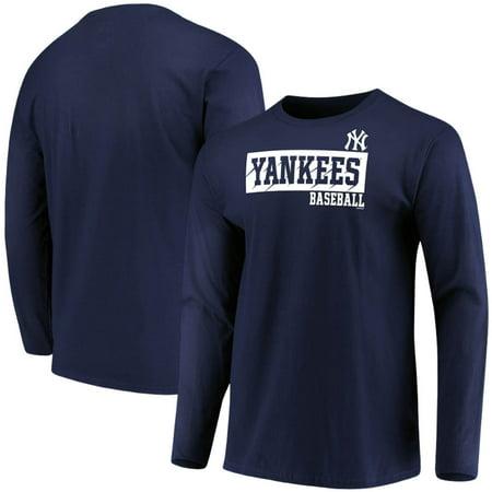 Men's Majestic Navy New York Yankees Box Cutter Long Sleeve T-Shirt