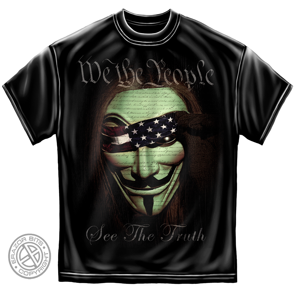Erazor Bits Black 100% Cotton We The People See The Truth Graphic T-Shirt (XXL)