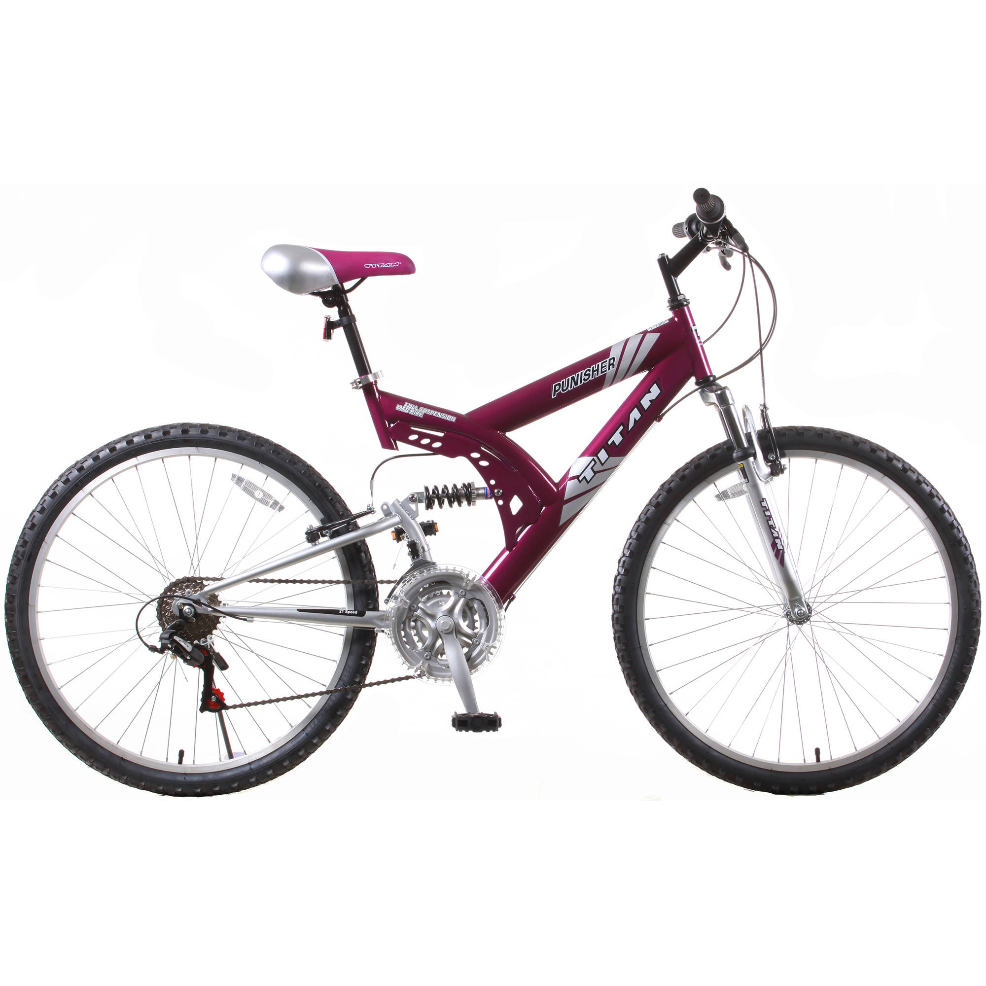 "26"" Titan Punisher Women's 21-Speed Dual Suspension All Terrain Mountain Bike, Purple"