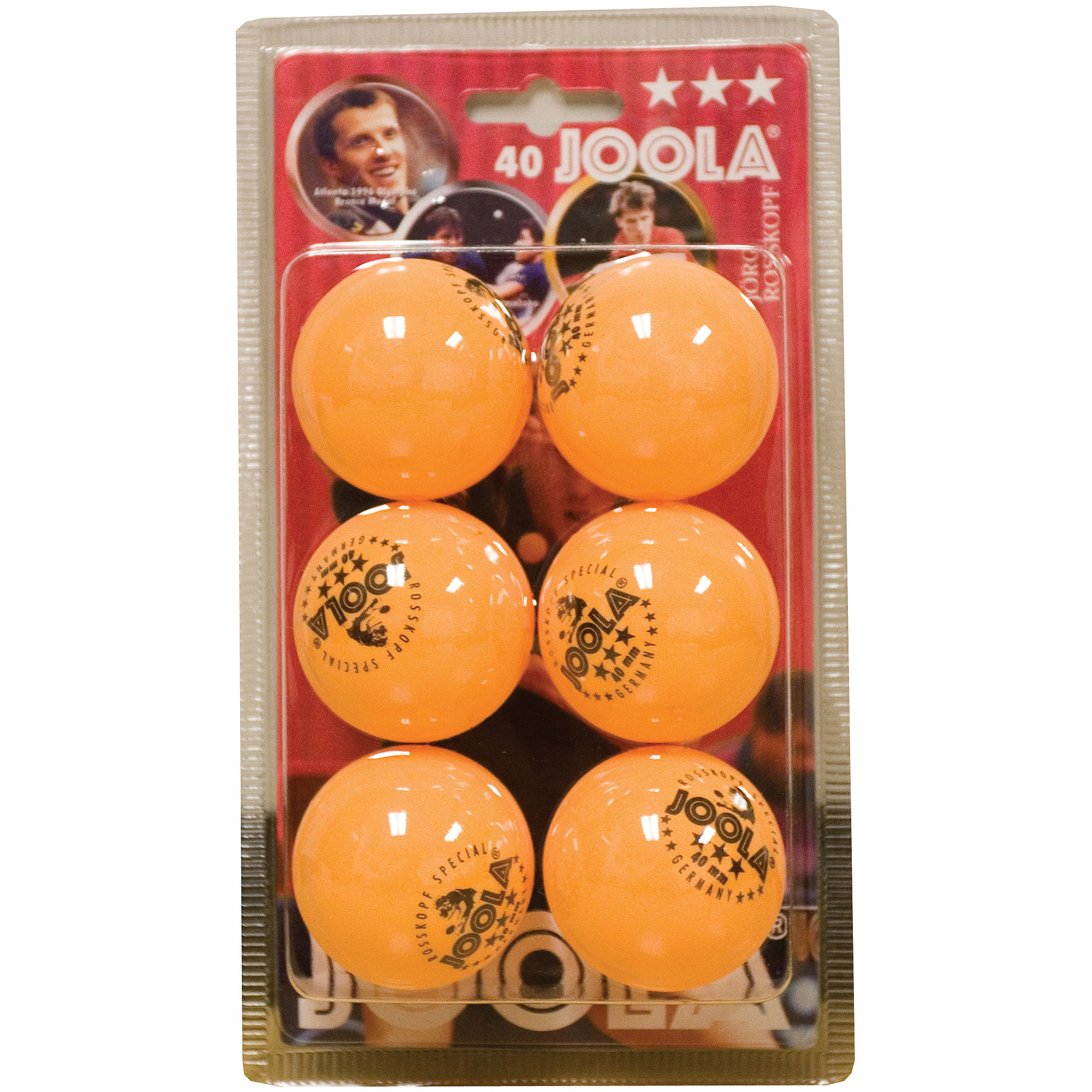 JOOLA Rossi 3-Star Table Tennis Balls (6 Count) - Orange
