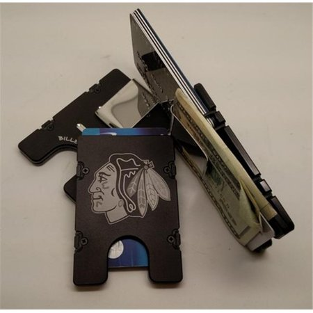 Helm Chicago Blackhawk Head Rfid Protected Aluminum Wallet   Credit Card Holder  Black