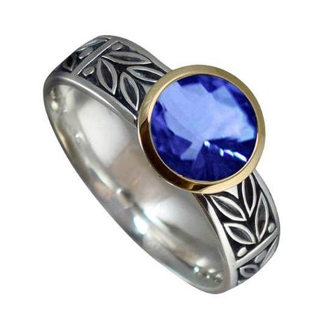 Harry Chad Enterprises 29687 2.01 CT 14K Two Tone Gold Round Ceylon Sapphire AAA Wedding Ring - image 1 of 1