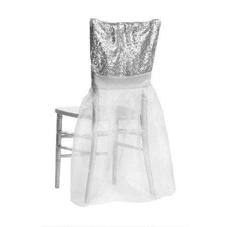 1 Pc, Sparkle Glitz Sequin Chiavari Chair Slip Cover - Silver For Wedding, Quinceanera, Bridal Shower, Baby Shower, Or Special Occasion