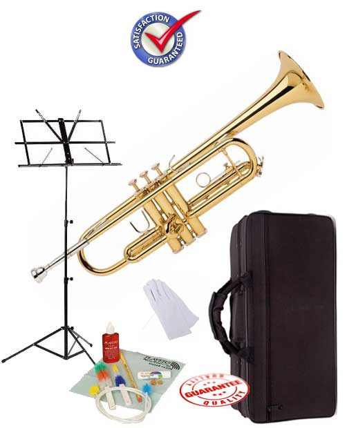 Student Gold Bb Trumpet School Package with Case, Music Stand and Cleaning Kit by D'Luca