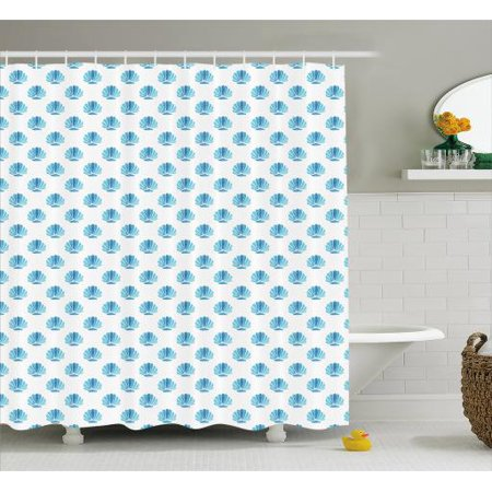 Shells Shower Curtain Blended Aquatic Tone Watercolored Painting Of Scallop Figures Pattern Fabric Bathroom