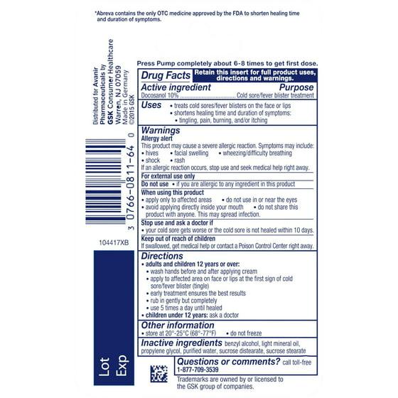 Abreva Docosanol 10 Cream Pump Fda Approved Treatment For Cold