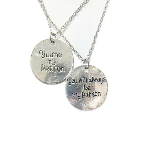 StylesILove You're My Person Handmade Shabby Silver Pendant Necklace - Set of 2