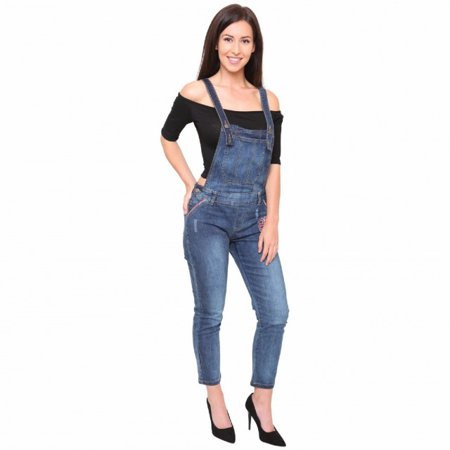 Women's Blue Baggy Stretch Denim Jean Overall Full Length Dungaree Jumpsuit Blue Small - Blue Jumpsuit