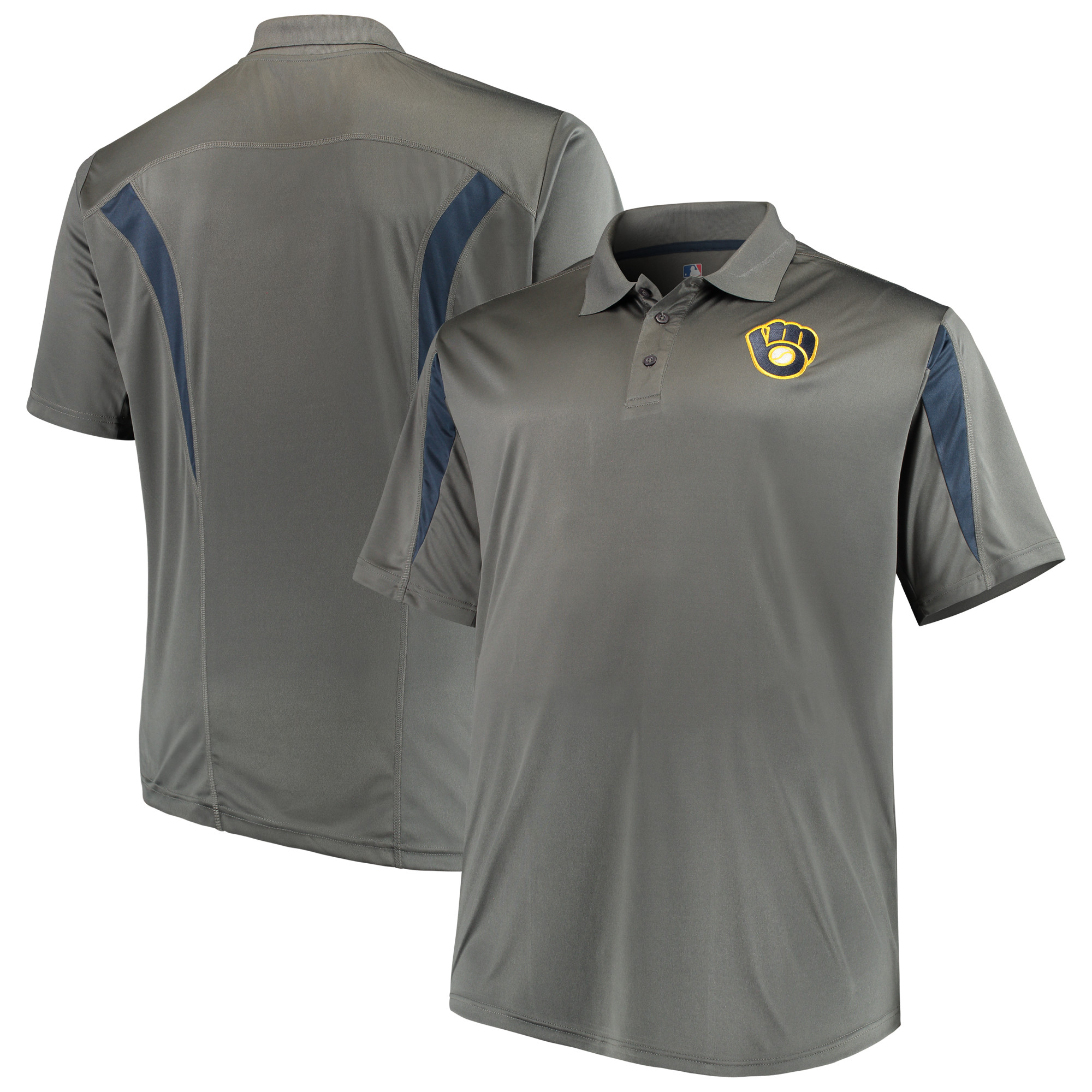 Milwaukee Brewers Majestic Contract Polo - Charcoal/Navy