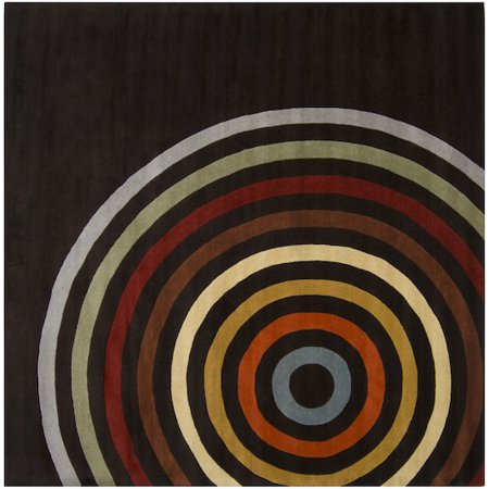 9.75' x 9.75' Eye of the Tiger Spiral Modern Multi-Colored Wool Area Throw - Spiral Tigers Eye