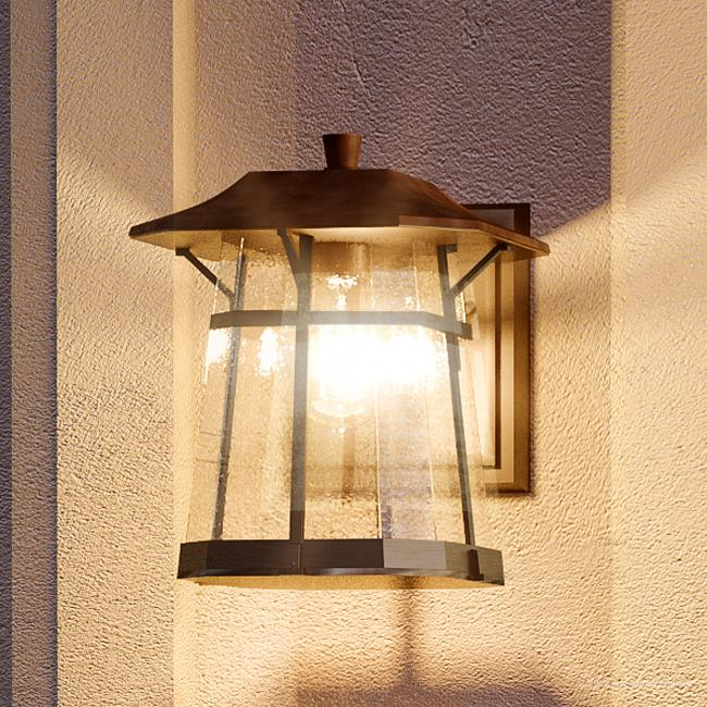 """Urban Ambiance Luxury Transitional Outdoor Wall Light, Size: 11-1/4""""H x 8-1/2""""W, with Craftsman Style Elements, Coffee Bronze Finish and Clear Seeded Shade, UHP1071"""