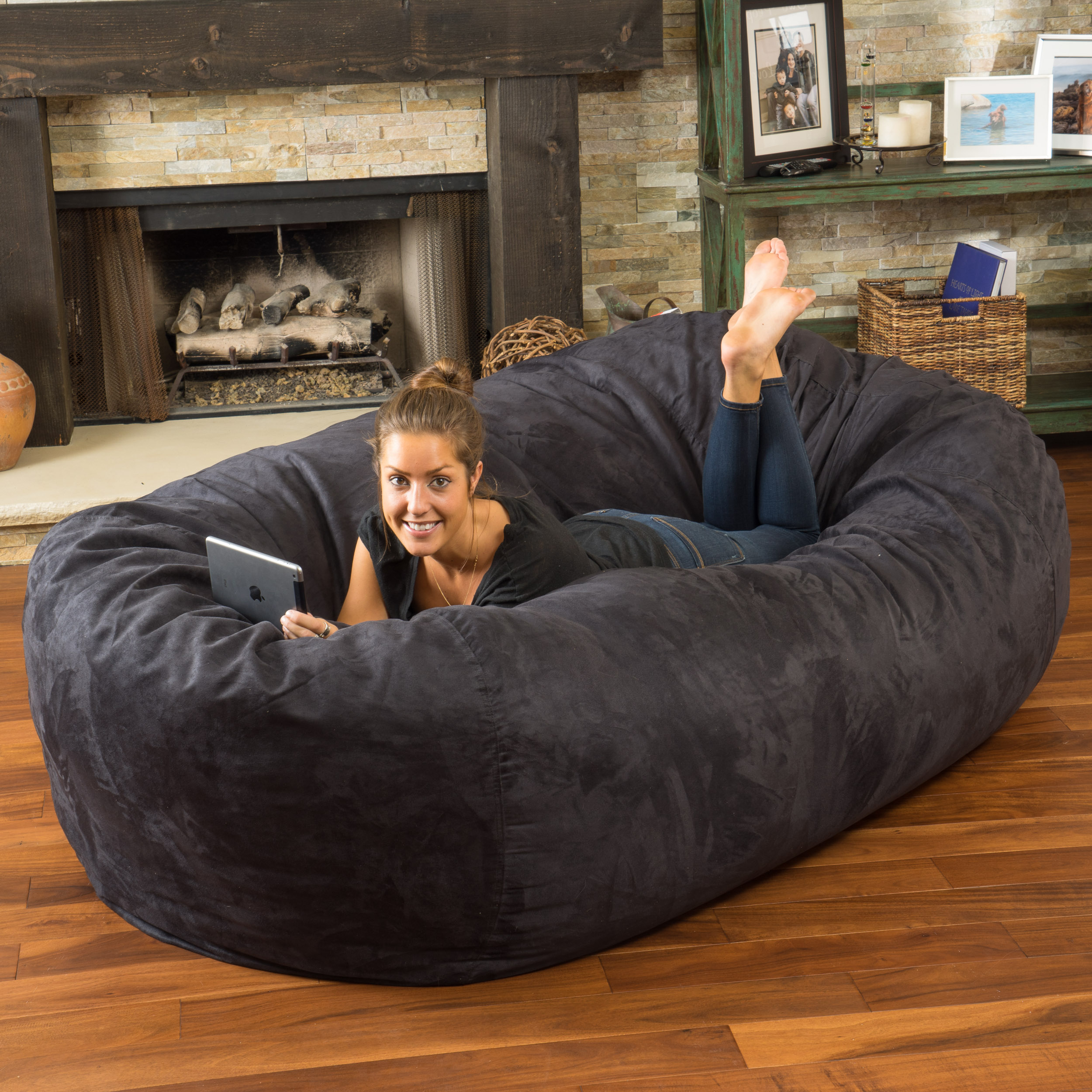 8 Ft Lounger Bean Bag Sofa Black Faux Suede Oversized Kids Lounge