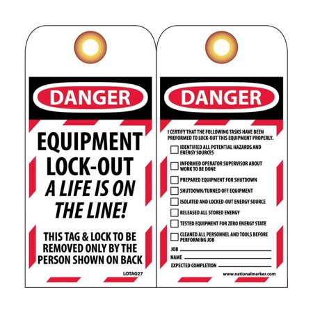 015 Blackberry (NMC Signs Lotag27, Danger Equipment Lock-Out A Life Is On The Line! Tag, 6 X 3, Unrippable Vinyl .015 )