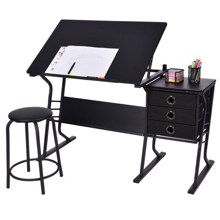 (Costway Drafting Table Adjustable Drawing Desk Art Craft Hobby w/ Stool & Drawers Black)