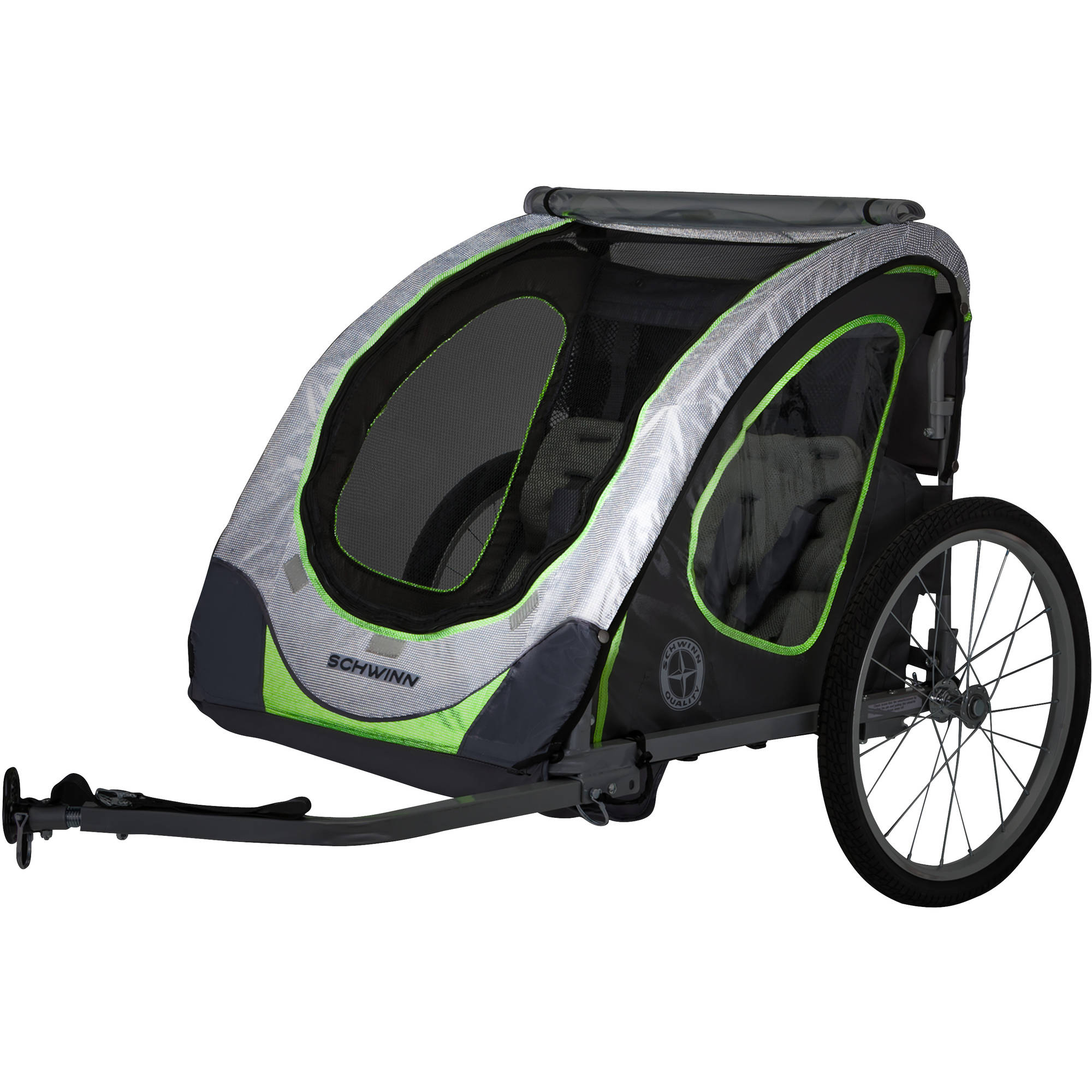 Schwinn Zap Double Child Reflective Trailer, Gray/Green