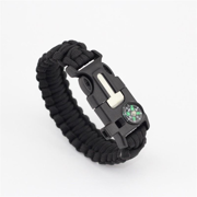 Paracord Survival Bracelet Compass/Flint/Fire Starter/Whistle Camping Gear/Kit (Black)