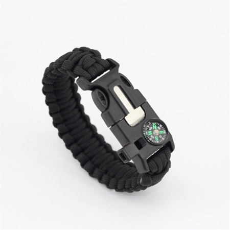Paracord Survival Bracelet Compass/Flint/Fire Starter/Whistle Camping Gear/Kit (Black) - Paracord Compass