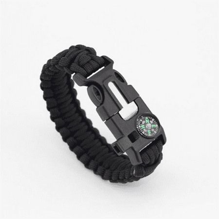 Paracord Survival Bracelet Comp Flint Fire Starter Whistle Camping Gear Kit