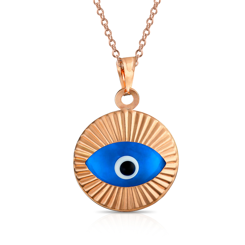 Vintage Gold Plated Evil Eye Glass Pendant Charm