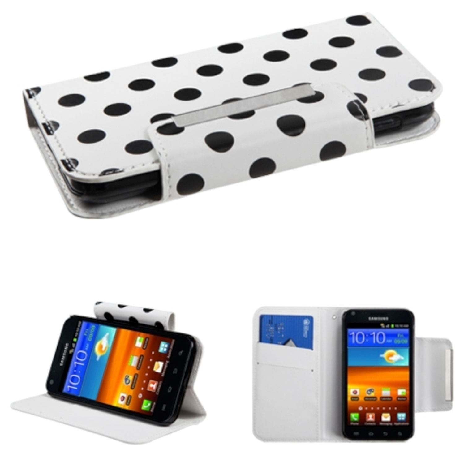 Insten Black Polka Dots White Book-Style MyJacket Wallet Case For SAMSUNG Epic 4G Touch D710