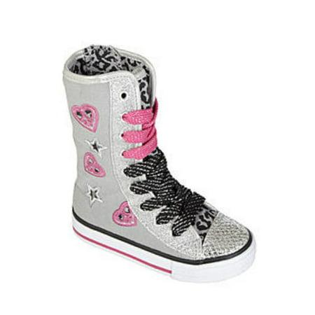3103f9bbaaf Bongo Toddler Girls Gray Denim Sneaker Boots Heart Glitter Hi-Top Sneaker 5