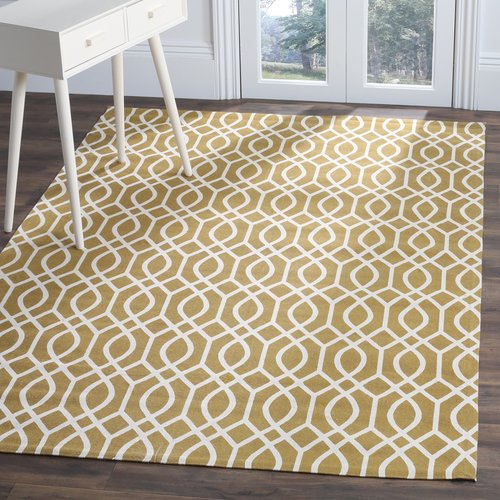 Charlton Home Charing Cross Hand Woven Cotton Gold/Yellow Area Rug