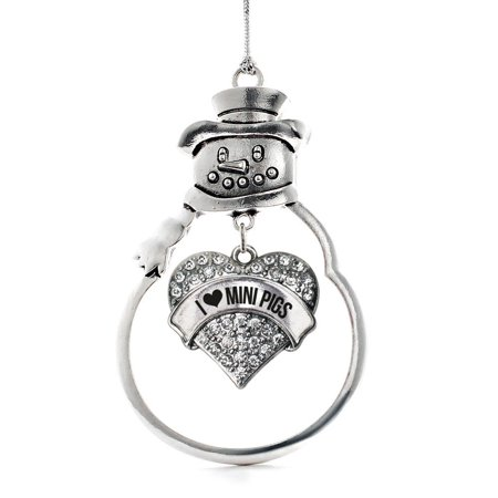 I Love Mini Pigs Pave Heart Snowman Holiday Ornament