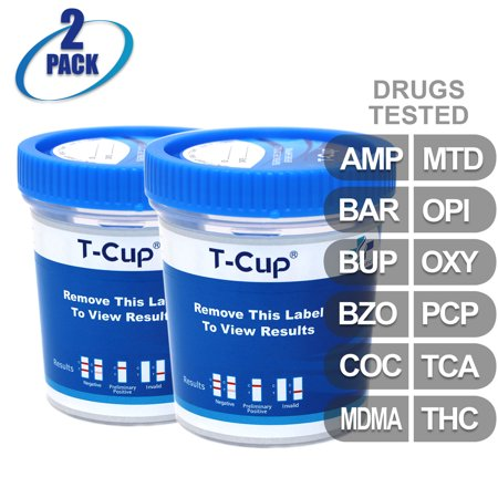 MiCare [2pk] - 12-Panel T-Cup Instant Urine Drug Test - (AMP/BAR/BUP/BZO/COC/MDMA/MTD/OPI/OXY/PCP/TCA/THC)