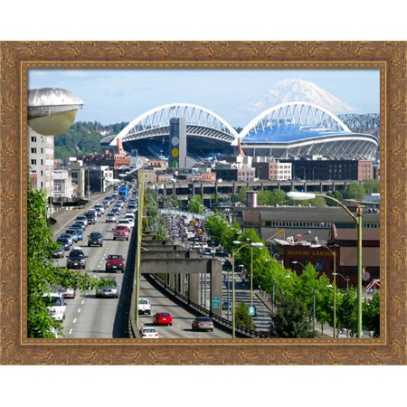 Centurylink Field 36X28 Large Gold Ornate Wood Framed Canvas Art   Home Of The Seattle Seahawks