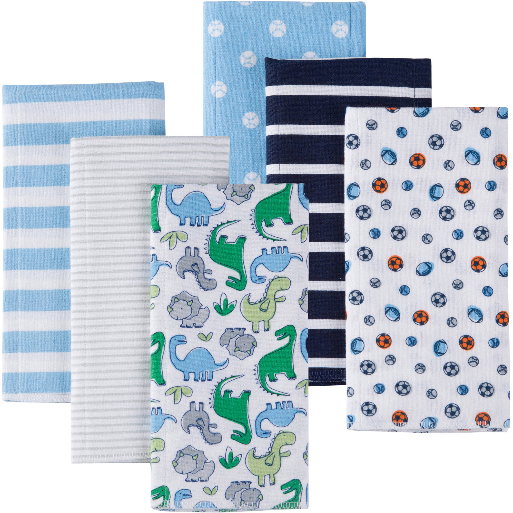 Gerber Baby Boy Flannel Burp Cloths, 6-Pack