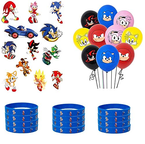 Sonic Party decoration Included Birthday Banner,sonic foil balloons 60Pcs Sonic Party Decorations for Kids/' Birthday