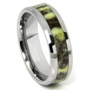 Titanium Kay Tungsten Carbide Green Riverstone Inlay Comfort Fit Mens Wedding Band Ring Sz 10.0