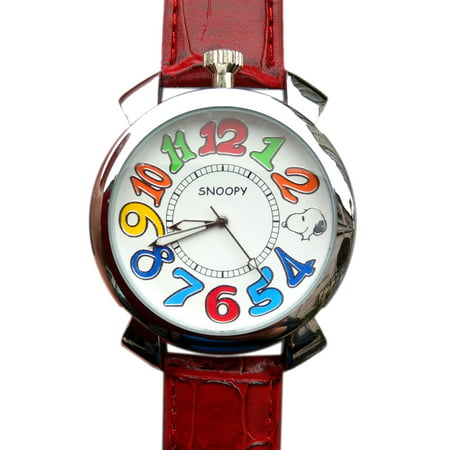 Snoopy Red Faux Leather Band Watch w/Colorful Dial Face Numbers (35mm)
