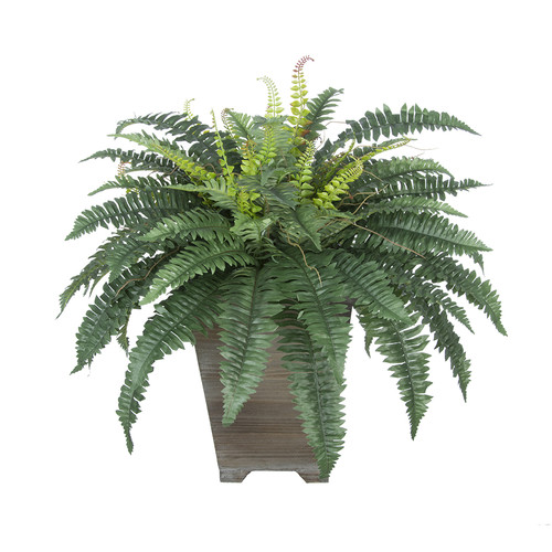 House of Silk Flowers Inc. Artificial Fern Floor Plant in Planter