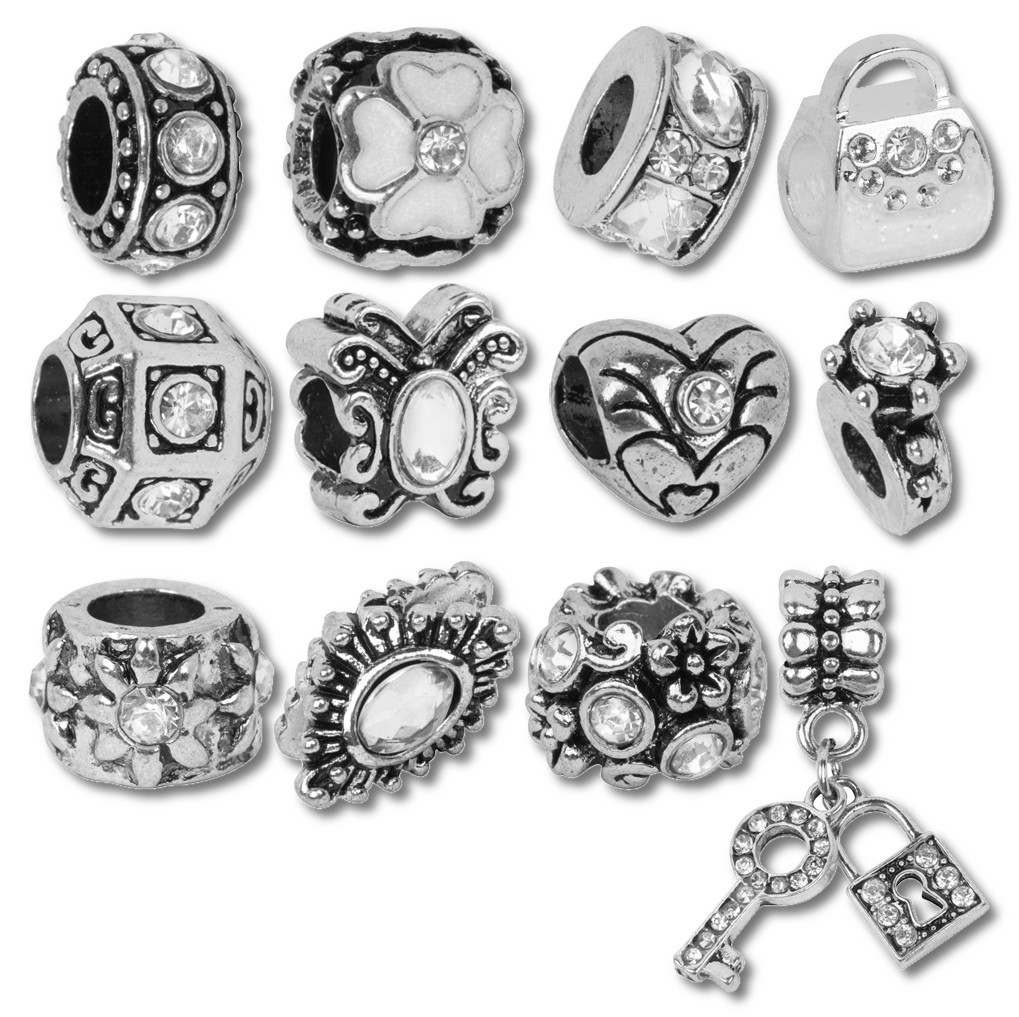 Diamond Birthstone Beads and Charms for Pandora Charm Bracelets - April Crystal Clear