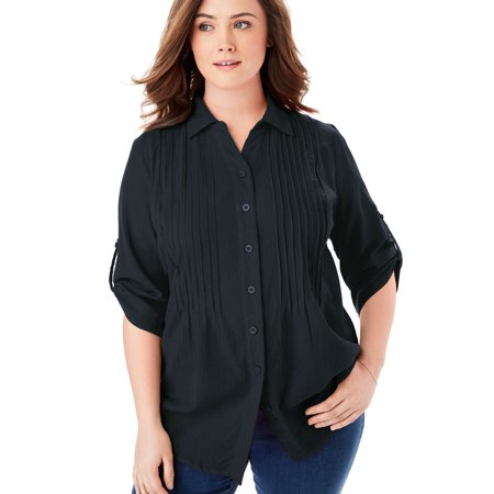 Woman Within Plus Size Pintucked Button Down Gauze Shirt