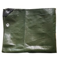 Dark Green Heavy Duty 12 Mil Poly Tarps Waterproof Covers for Tarpaulin Canopy, Camping, Carport, Boat, Furniture, Floors, RV, Pool or Roof Repair Items - 6' x 7'