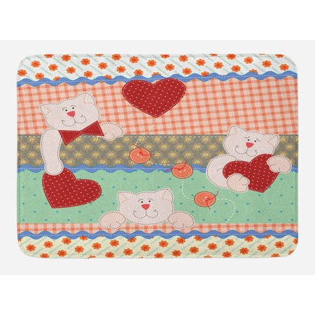 Patchwork Bear (Shabby Chic Bath Mat, Funny Teddy Bears with Hearts in Patchwork Style Cute Kids Theme Design Print, Non-Slip Plush Mat Bathroom Kitchen Laundry Room Decor, 29.5 X 17.5 Inches, Multicolor,)