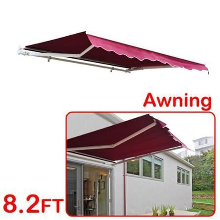 8' x 7' Patio Manual Retractable Sun Shade Awning - Red ...