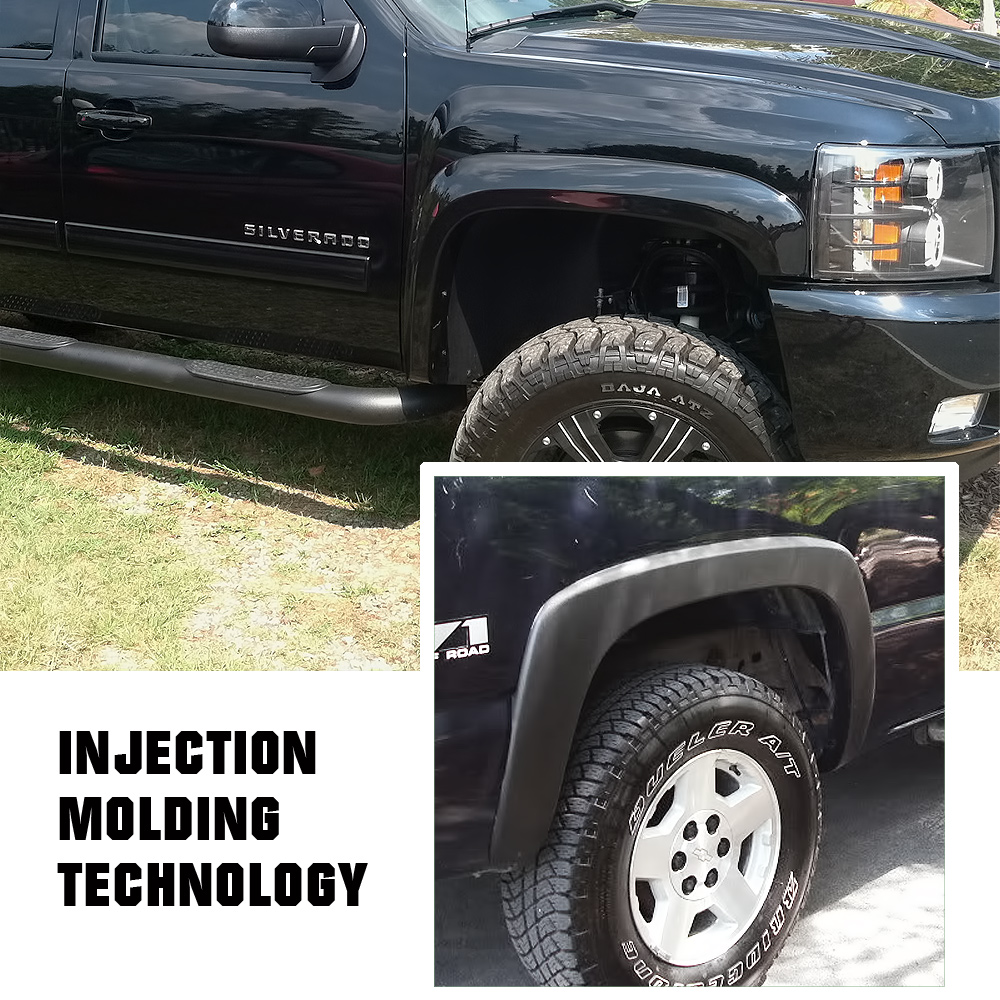 APS 4pcs OE Style Black Fender Flares For 2007-2013 Chevy Silverado fender flares standard and long bed