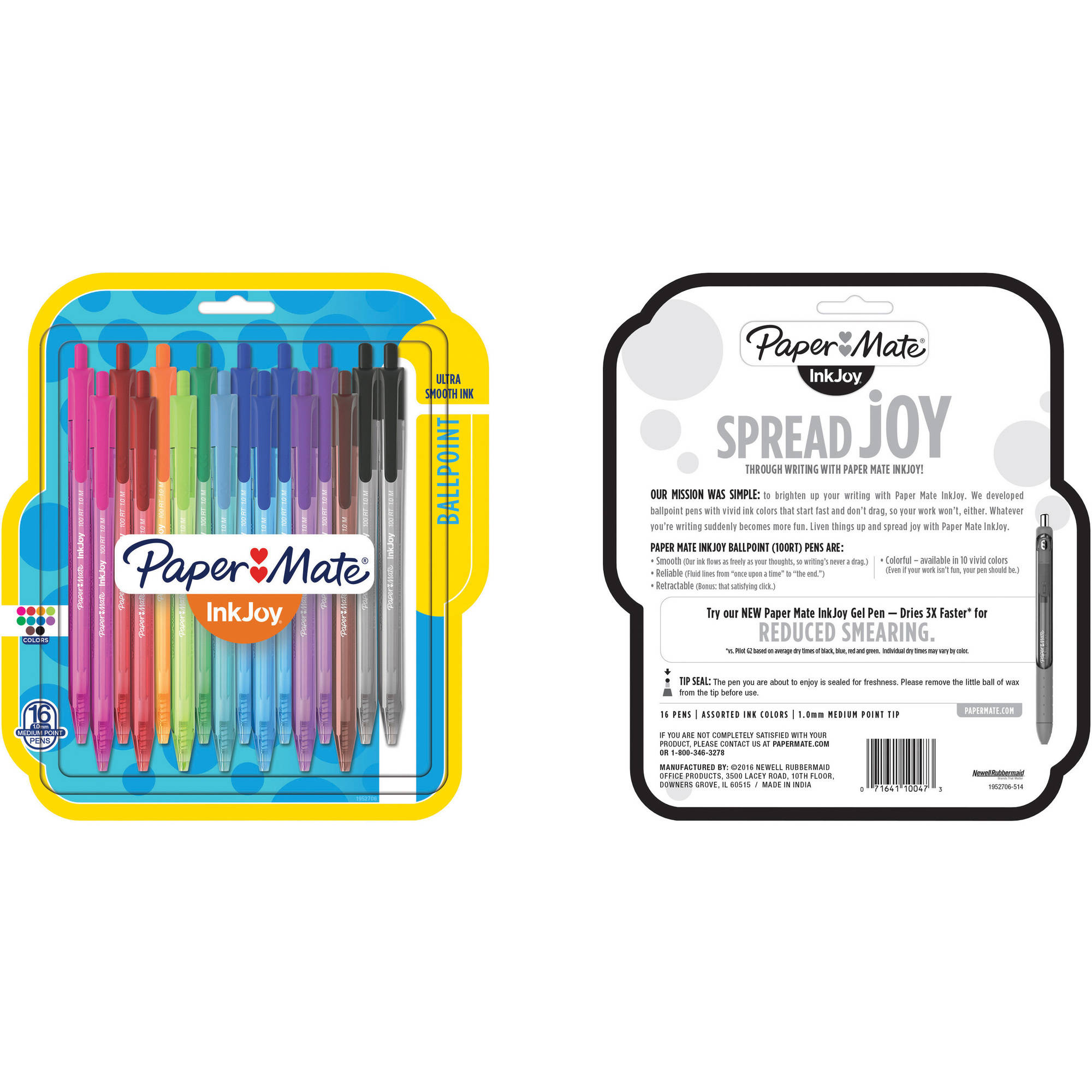 Papermate Inkjoy 100rt Assorted 16ct