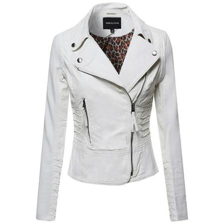 6853f83598312 FashionOutfit - FashionOutfit Women s White Faux Leather Rider Jacket -  Walmart.com