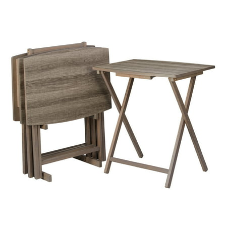 Mainstays 5-Piece Folding XL Oversized Tray Table Set, Rustic Gray ()